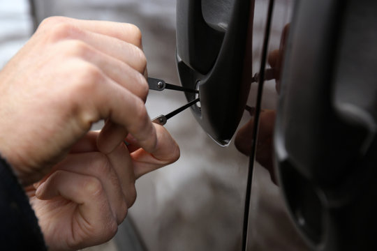 Unlocking a car by professional locksmith